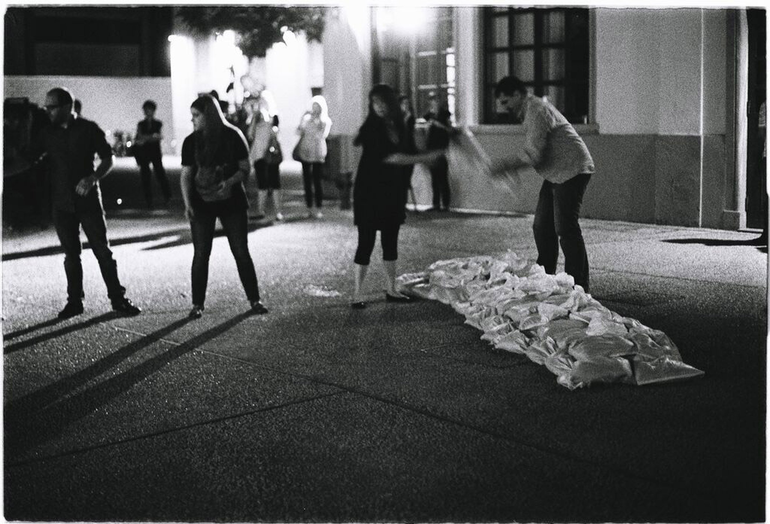 Action for a sandbag brigade - writing the borders of crisis, 2011 performance