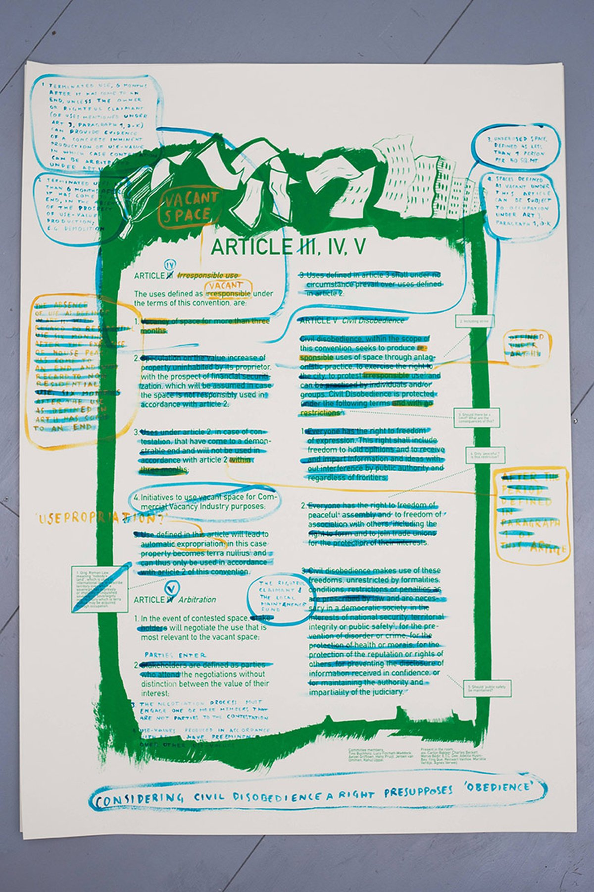 White paper: The Law, 2015 6 screen-printed posters with hand-written notes and corrections 100 × 140 cm; each ; installation view at Casco 2015