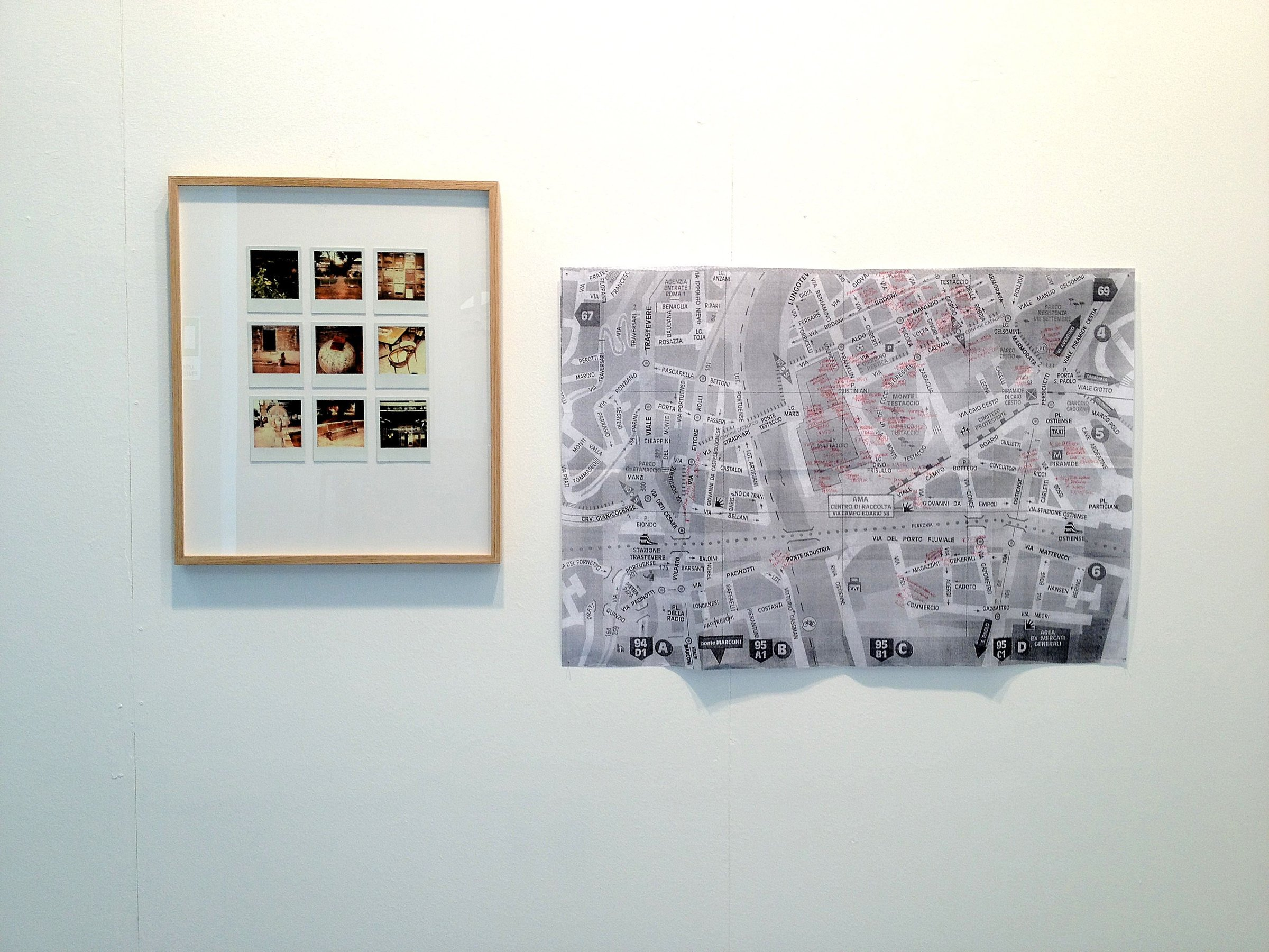 Testaccio - Free-exchange, 2010 installation, series of 9 framed polaroids, large format Xerox map of the area, used books