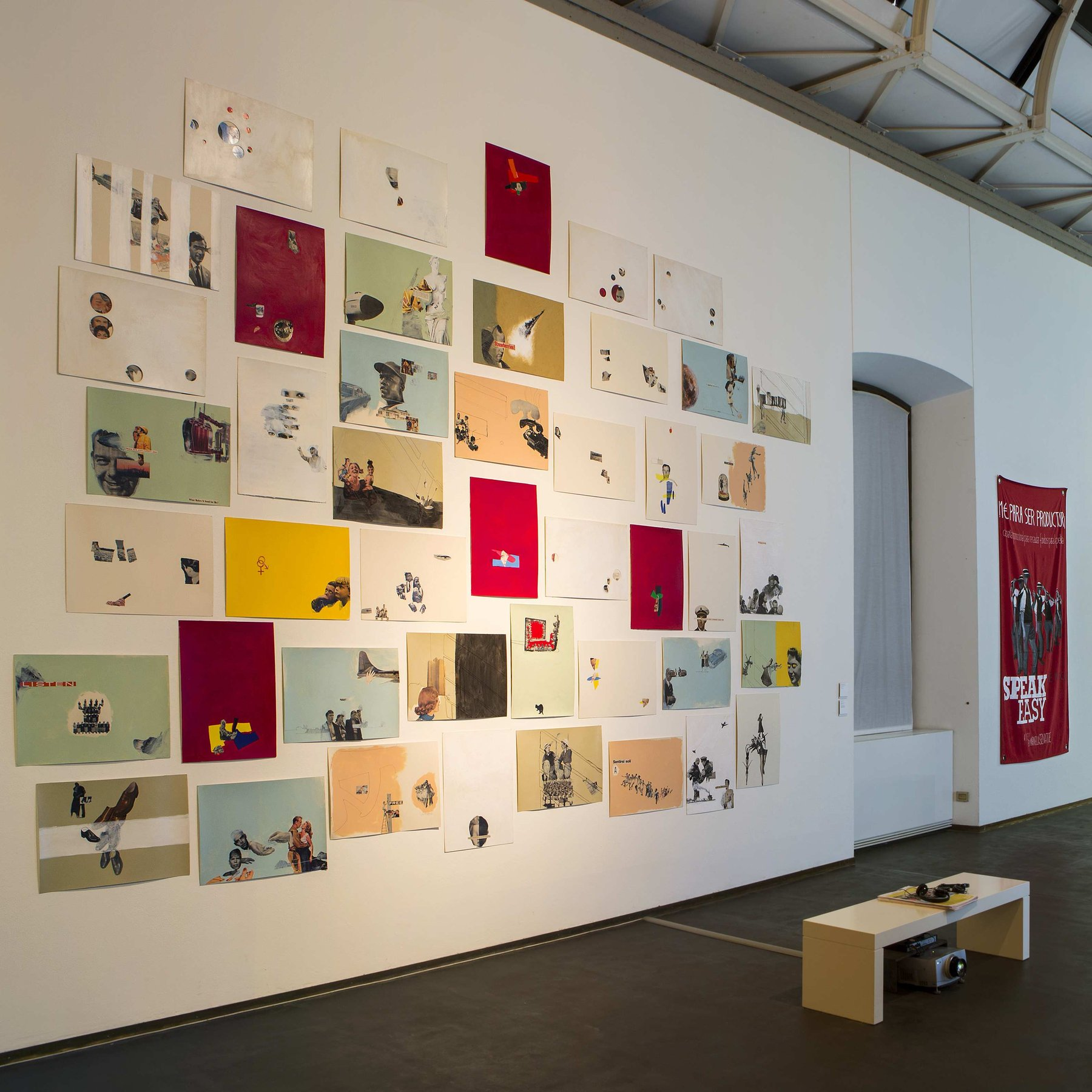 Marinella Senatore Speak Easy, 2009 - 2013 collages on vegetable cardboard 50x70 cm each Installation view at Kunst Halle